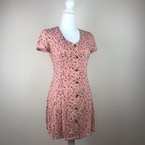 Rewind Floral Blush Button Down Dress